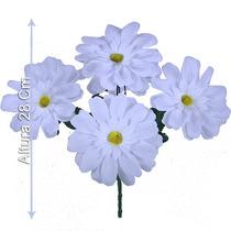 Bq Gerbera C/5 Branca 28 Cm (22630008) - Flores Artificiais