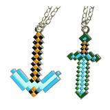 Kit Colar Minecraft Espada Diamante E Picareta - Ping Grande