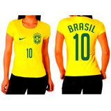 Blusa Feminina Baby Look Brasil Copa Do Mundo