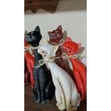 Pareja De Gatos Cerámica- Pintados A Mano - Adorno -deco