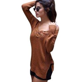 Blusa De Frio Tricot Tricô Crochê Feminina Cordão Com Ilhós