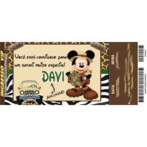 50 Convite Ingresso Mickey Safari Aniversário 48hrs