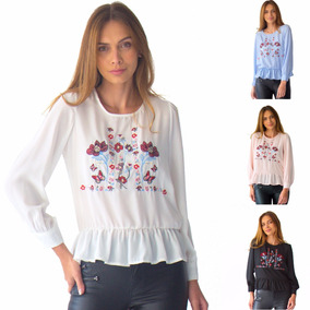 Blusa Dama Manga Larga Bordada Con Olanes Rack & Pack