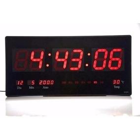 Relógio De Parede Digital Led Grande Com Temperatura E Data