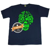 Calavera Bicicleta Fluor Polera Estampada Varios Colores
