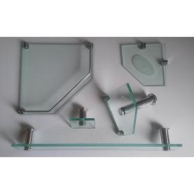 Acessório Banheiro Kit 5 Peças Vidro Retangular E Canto