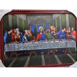Quadro Santa Ceia Jesus Cristo Apostolos Junto À Mesa 70x50