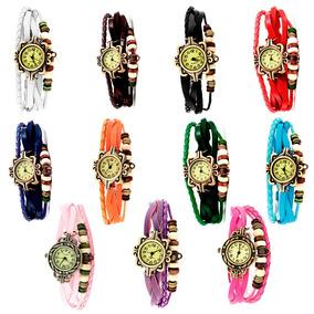 Reloj Vintage Retro Moda Dama Mayoreo Piel Relojes Por Pieza
