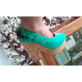 Oferta Bellos Zapatos Tipo Plataforma Talla 38 Horma Pequeña