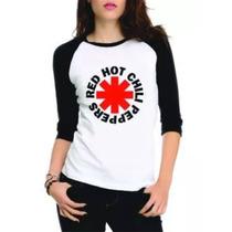 Camiseta Red Hot Chilli Peppers Raglan 3/4 Feminina Rock