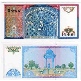 2 Billetes Uzbekistan 5 Y 10 Sum Año 1994 Sin Circular