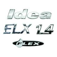 Kit Emblemas Idea Elx 1.4 Flex + Brinde