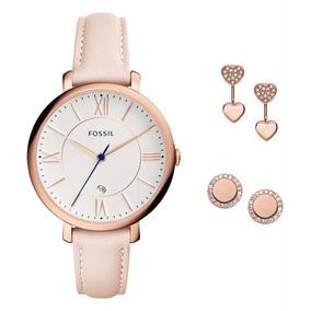 Reloj Fossil Es4202set Oro Rosa Dama Jacqueline Piel Aretes