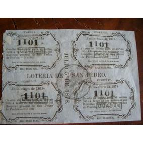Antiguo Boleto De Lotería De San Pedro Puebla De 1878