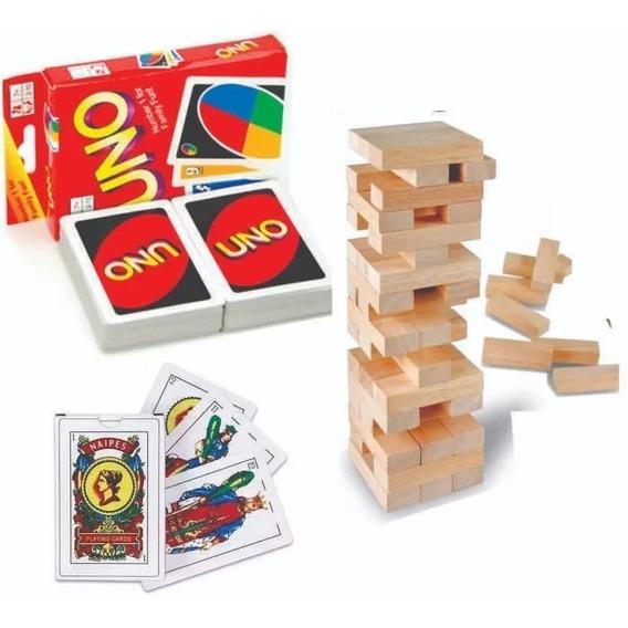 Juego De Cartas Uno + Yenga Jenga Torre + Cartas Espa?olas