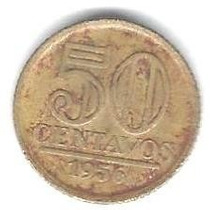Moeda Antiga - 50 Centavos - Cruzeiro 1956