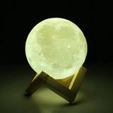 Lámpara De Luna Diseño 3d Ue3d Recargable Táctil Decora 15cm