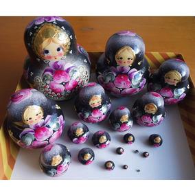 Bonecas Russas Matryoshka Rara Cod.2007 20 Peças 14-15cm Mam