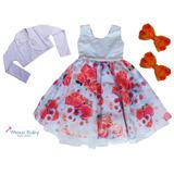 Lindo Vestido Infantil Floral Dama Formatura Bolero Frete