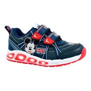 Zapatillas Footy Con Luces Mickey Niños Azul Y Rojo