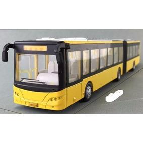 Miniatura Ônibus Articulado Em Metal Escala 1:55 Urbano