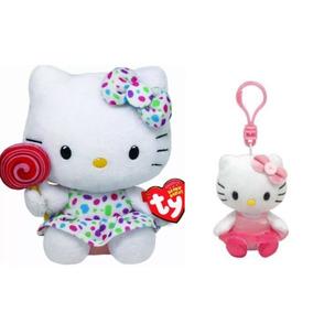 Hello Kitty Set De Peluche + Llavero Ty Beanie Babies Sanrio