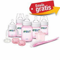 Biberones Avent Kit Set Recien Nacido Classic Plus Rosa