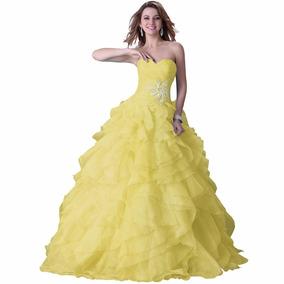 Vestido De Debutante Amarelo 34 36 38 40 42 44 46 48 Vg00349