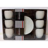 Juego Tazas De Cafe Con Plato Porcelana X 6