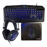 Kit Gamer Teclado, Mouse, Mouse Pad, Headset Hoopson Azul
