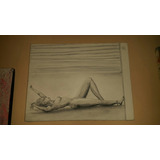Lienzo Al Carbon Desnudo Mulata Sensual En Pared