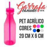 30 Garrafa Com Tampa E Canudo Pet 500ml - 6 Cores