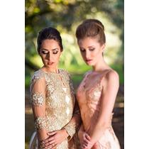 Vestido De Gala Festa Dourado Modelo Princesa Com Tule