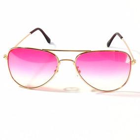 Óculos De Sol Feminino Aviador Rosa Degrade Uv400