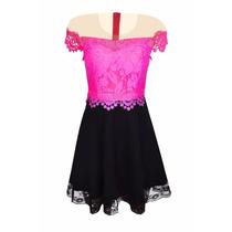 Vestido Feminino Curto Rendado Decote Tule Renda Barra