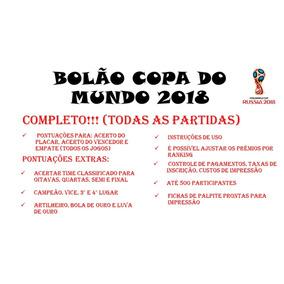 Planilha Bolão Copa Do Mundo 2018 - Todos Os Jogos E Fases