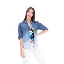 Camisa Jean Degrade Manga 3/4,larga 8 Talles-axioma