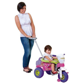 Triciclo Bichos Com Som Haste Direcionável Rosa Magic Toys
