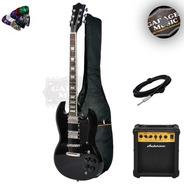 Guitarra Electrica Sg Doble Mic Funda Acolchada Amplificador