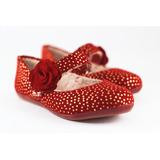 Sapato Poá Vermelho Com Dourado Flor (nº24)