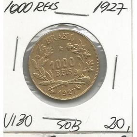 Moeda 1000 Reis 1927 Bronze Aluminio V130 Sob