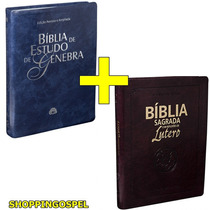 Bíblia De Estudo Genebra Luxo Azul + Bíblia De Lutero