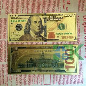 Cédula 100 Dolar Folheado A Ouro 24 K