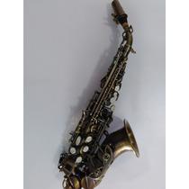 Sax Soprano Curvo Cor Envelhecido E Escovado