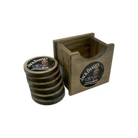 Porta Copo Colonial Em Madeira - Jack Daniel