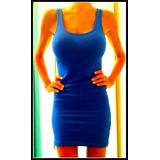 Vestido De Lycra Y Algodon Basico Al Cuerpo Liso Vs Colores