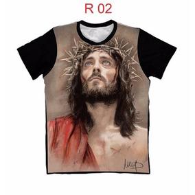Camiseta Religiosa Católica Estampa 3d Algodão Frete Grátis