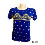 Baby Look Camiseta Feminina Indiana Yoga Hippie Mandala Azul