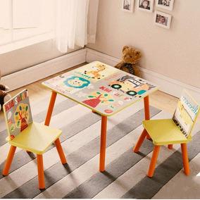 Conjunto Infantil Kit 1 Mesa E 2 Cadeiras Em Mdf Importado