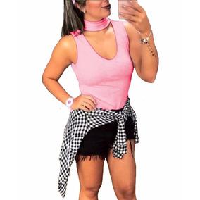 Blusa Feminina Gola Alta Choker Coleira Pp A Gg Frete Gratis